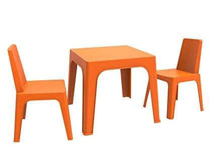 Mesa resina infantil Jan apilable. color naranja